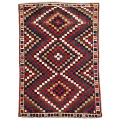 Antique Persian Plush Wool Lori Tribal Rug Graphic Pattern of Mid-Century Style