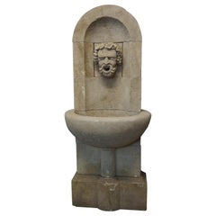 Hand Carved Limestone Pedestal Style Bacchus Wall Fountain