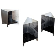 Set of 4 Contemporary Stainless Steal Handcrafted Side Tables by Luis Pons