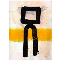 Contemporary Monument Forms Abstract Art Painting with Black and Yellow