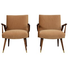 Completely Restored Pair of Modern Oak Lounge Chairs