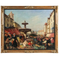 Albert Dagnaux, Oil on Canvas, Place de l'Hotel de Ville à Mantes la Jolie
