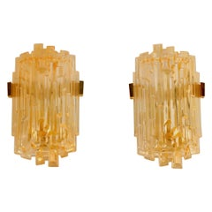 Pair of Chic French 1970s Brutalist Glass Sconces