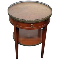 Regency Style Leather Top Bouillotte Table