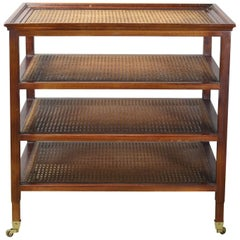 Late 20th Century Mahogany and Cane Etagere Side Table
