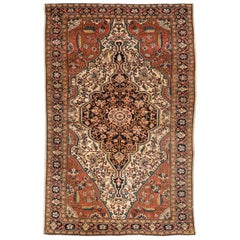 Antique Persian Farahan Rug with Ivory, Rust and Navy