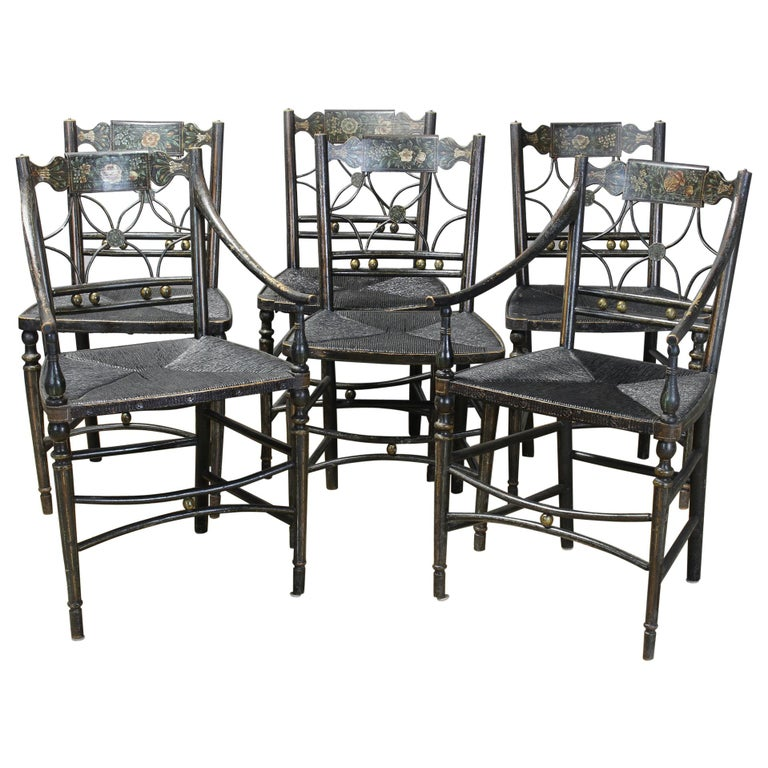 """Set of 6 Early 19th Century American """"Fancy"""" Dining Chairs For Sale"""