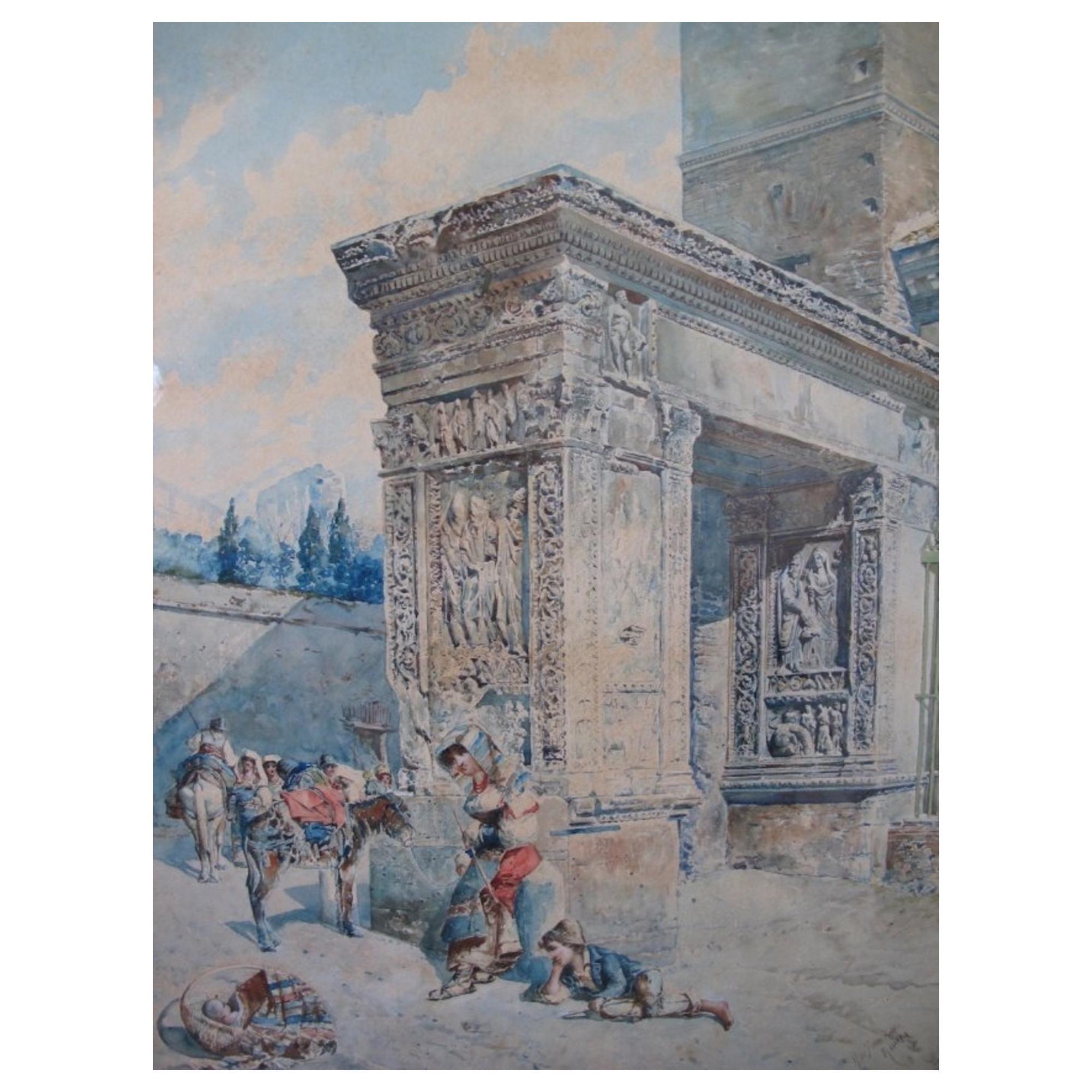 Italian Watercolor by Mariano De Franceschi