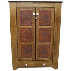 Antique Country Punch Tin Door Board Back Pie Safe, circa Late 1800s