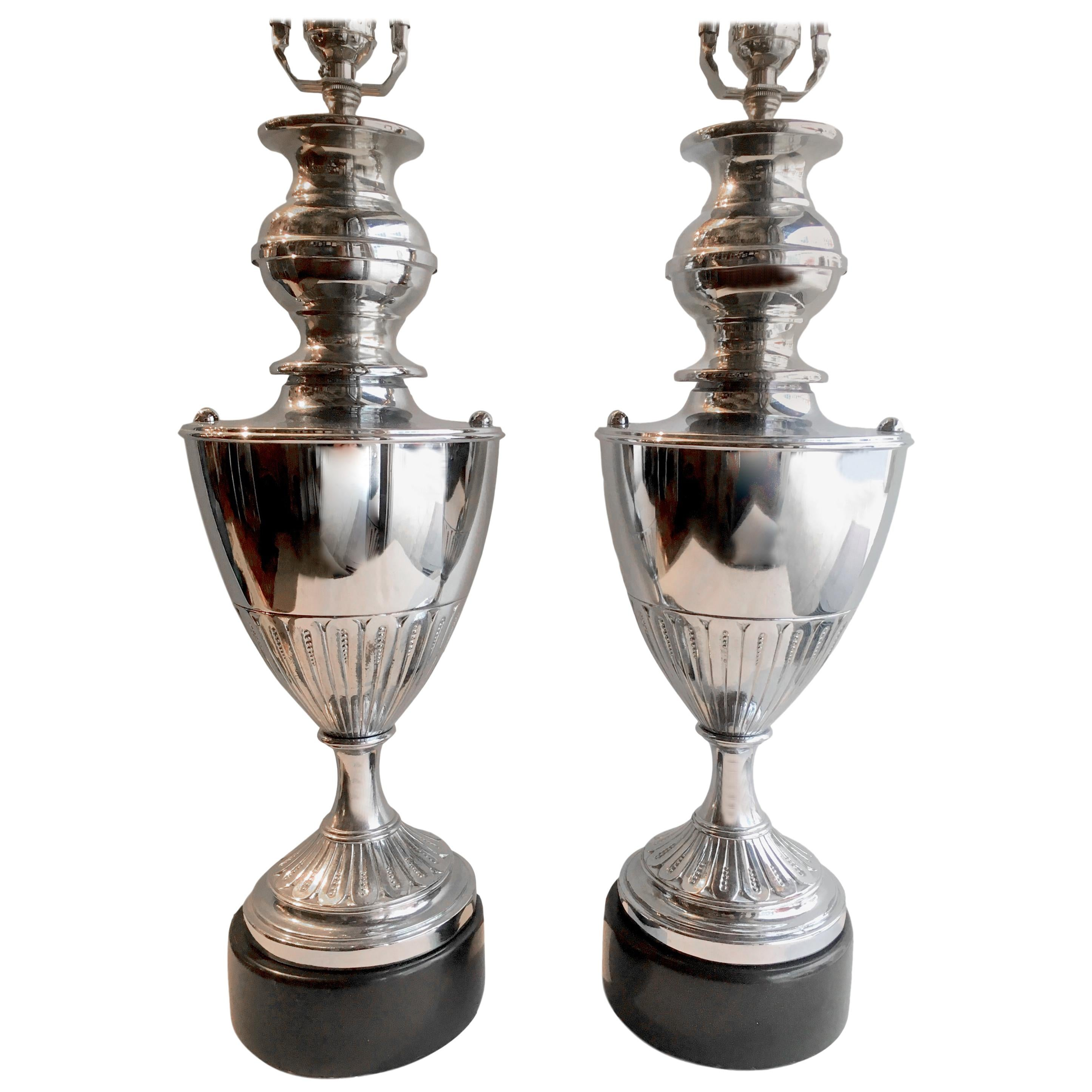 Pair of Nickel-Plated Table Lamps