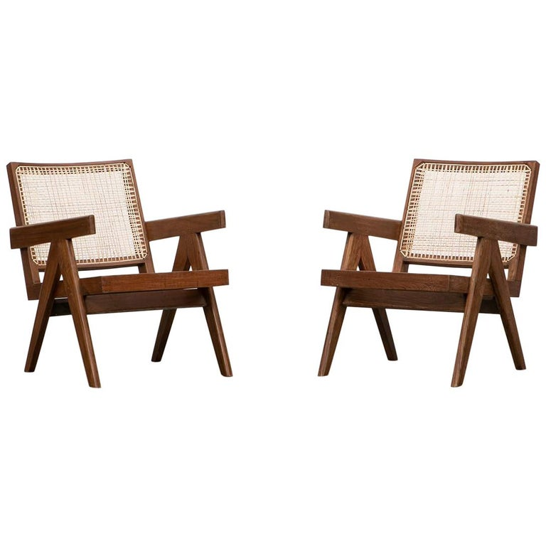1950s Brown Wooden Teak and Cane Lounge Chairs by Pierre Jeanneret 'f'