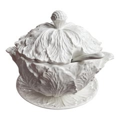 1950s Blanc de Chine Pottery Cabbage Leaf Soup Tureen with Ladle and Underplate