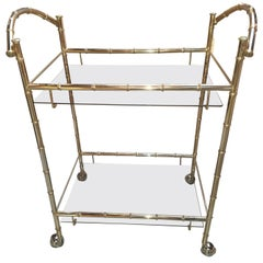 1960s Midcentury Chrome Faux Bamboo Bar Cart with Smoked Glass Shelves