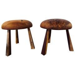 Pair of Small Wood Mushroom Stools in the Manner of Nakashima