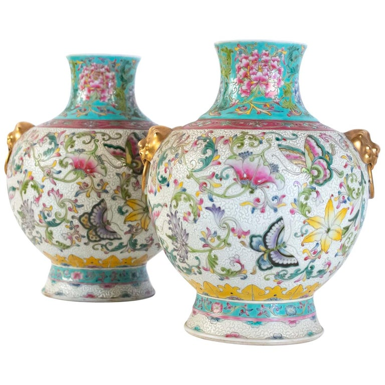 Pair of Enamelled Porcelain Vases, China, Works of Art, Decor Butterflies For Sale