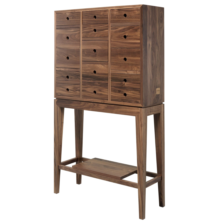 Tall Walnut or Oak Chest of Drawers Dresser Cabinet