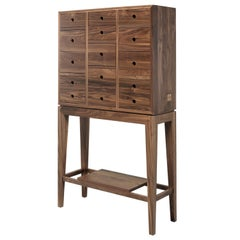 Tall Walnut or Oak Chest of Drawers Dresser Cabinet