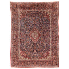Antique Persian Kashan Hand Knotted Wool Rug with Floral Design