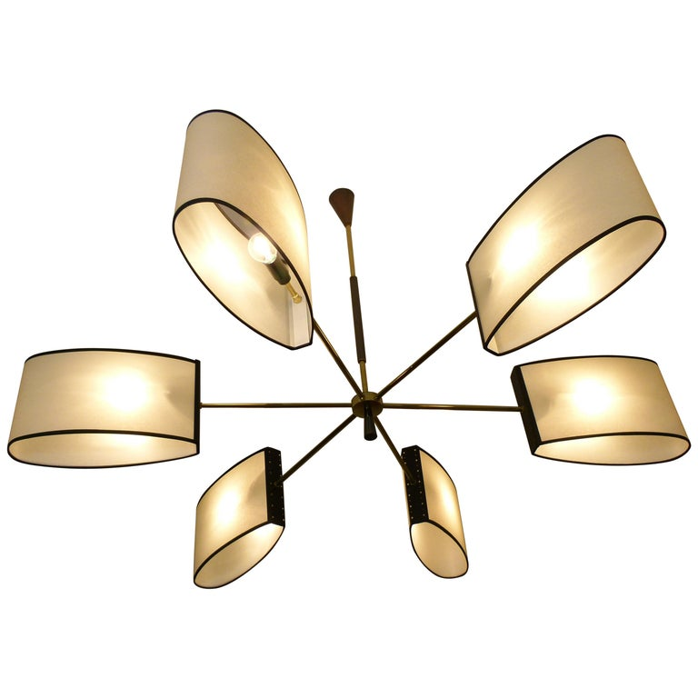 1950s Circular Chandelier With Six Arms Of Light by Maison Lunel For Sale