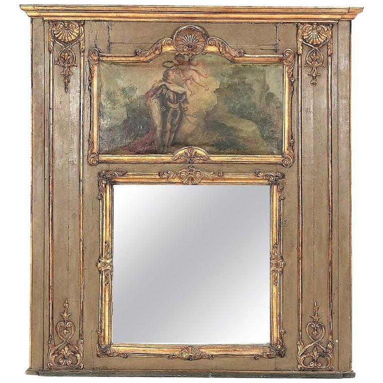 Louis XVI Paint and Giltwood Trumeau with Oil Inset of King For Sale