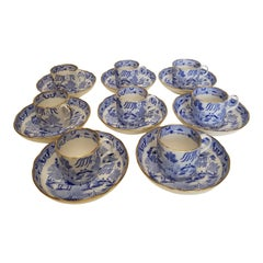 Antique English Chinoiserie Porcelain Blue and White Blue Willow Demi Tasse Cups
