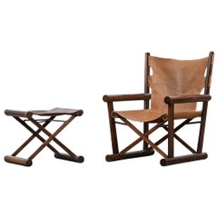 1960s Wooden Folding Chair with Ottoman by Sergio Rodrigues