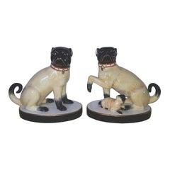 Vintage Chelsea House Porcelain Pug Figurines, a Pair