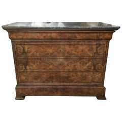 Stunning 19th Century Louis Philippe Walnut and Marble Chest of Drawers
