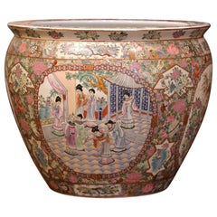 Chinese Porcelain Famille Rose Fish Bowl with Oriental Decorations