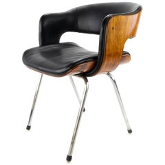 Black Leather and Rosewood Oxford Chair by Martin Grierson for Arflex, 1960