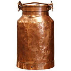 19th Century French Patinated Copper Milk Container with Handle and Lid