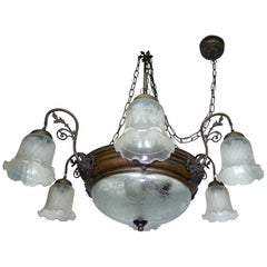 Antique Large French Art Deco and Art Nouveau Etched Glass 8-Light Chandelier