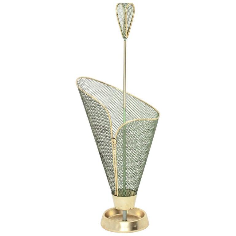 Mid-Century Modern Green Metal Vintage Umbrella Stand Schiwa Luxus, 1950s For Sale