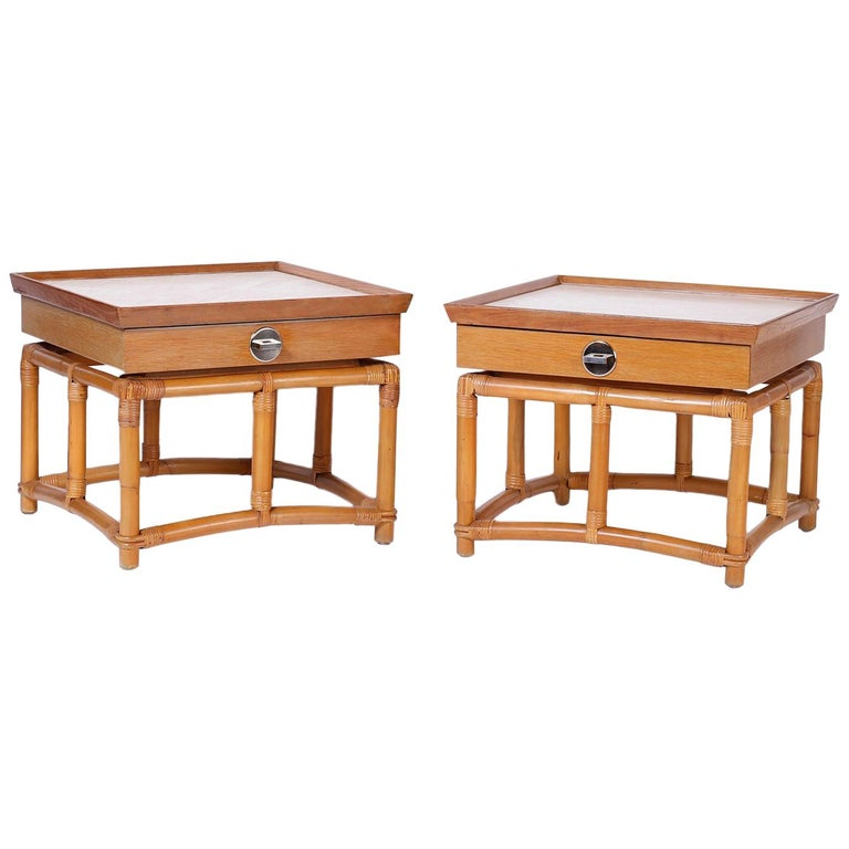 Pair Of Midcentury Bamboo End Tables