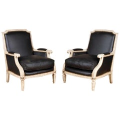 Pair Painted and Parcel Gilt Maison Jansen Black Leather Arm or Bergere Chairs