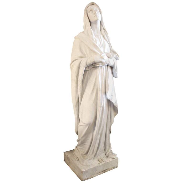 Large Marble Statue of the Virgin Mary For Sale