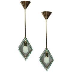 Pair of Italian Brass and Glass Pendant Lighting Fixtures