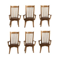Ricardo Legorreta Set of 6 Mexican Modern White Oak Dining Armchair