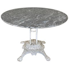 19th Century Cast Iron Marble-Top Centre Table