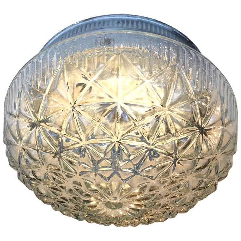 Molded Glass Flush Mount Fixture For Sale