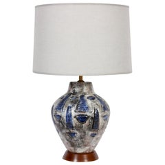 Signed Hand Painted Swiss Art Pottery Lamp in Blue and Gray