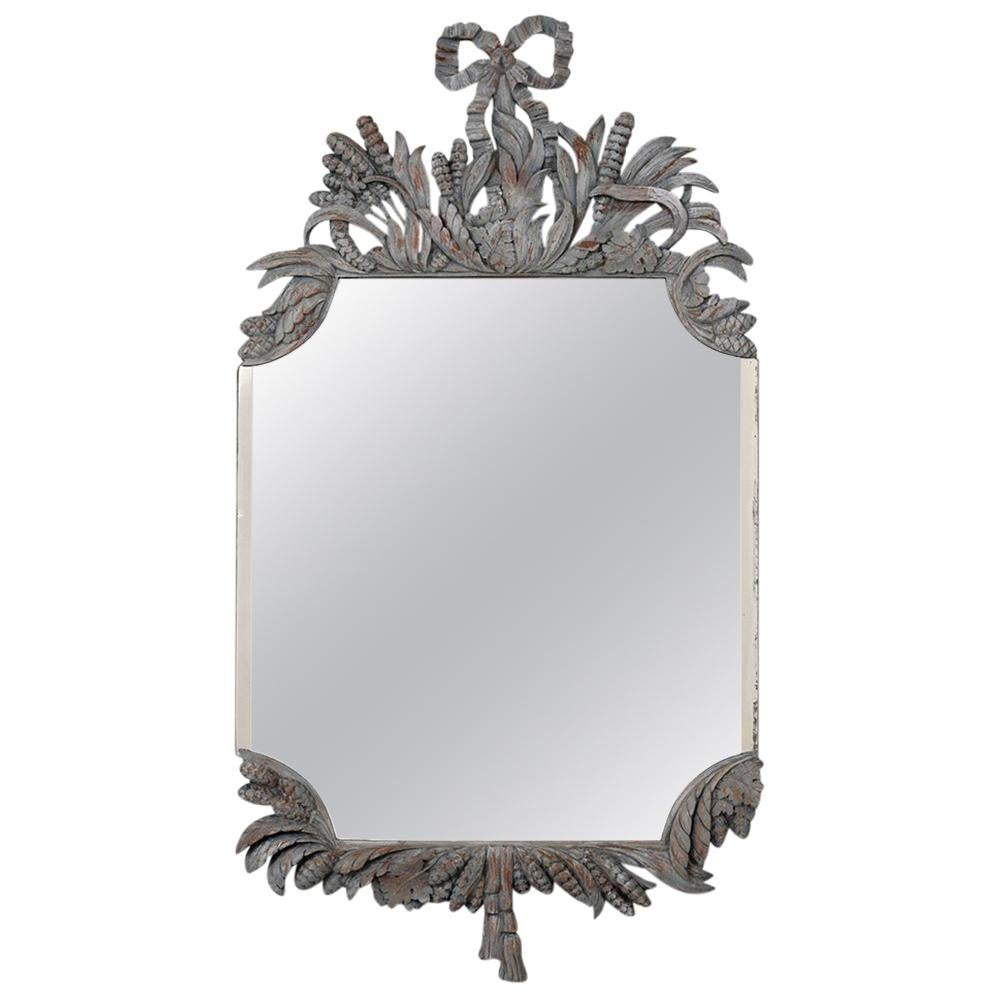 Louis XVI Style Ornate Distressed Wall Mirror