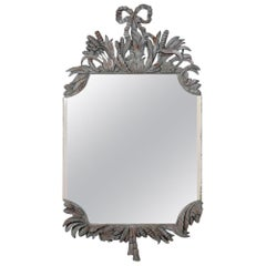 Louis XVI Style Ornate Distressed Wall Mirror