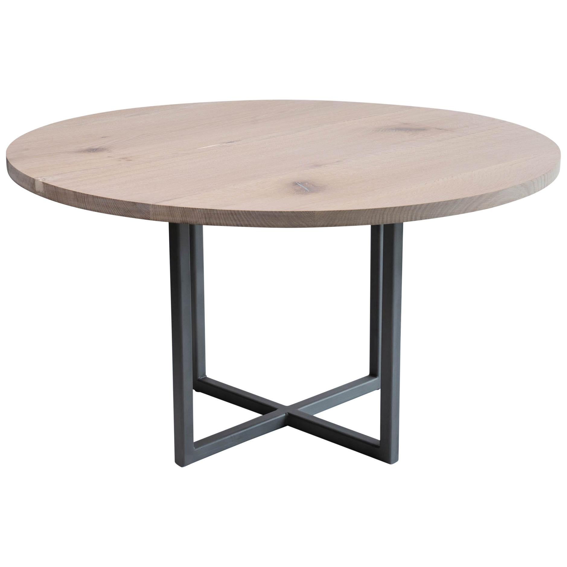 """54"""" Round Dining Table in White Oak and Pewter Inlays Modern Steel Pedestal Base"""