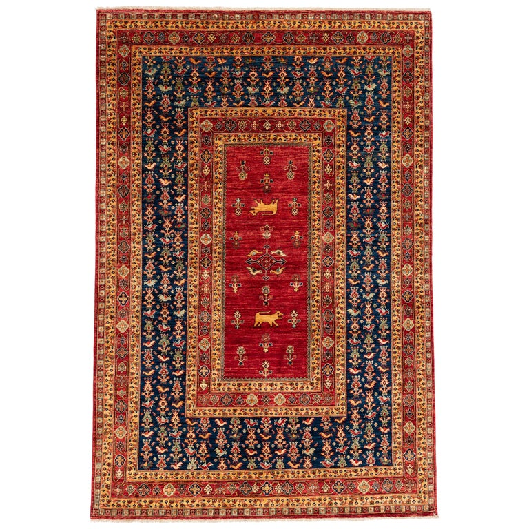New Persian-Inspired Rug Handmade In Afghanistan Hand