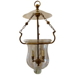 Handsome Blown Glass Bronze Bell Jar Lantern 2-Light Fixture Vaughan England