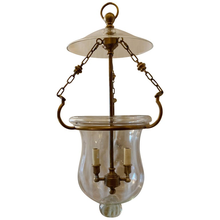 Handsome Blown Glass Bronze Bell Jar Lantern 2-Light Fixture Vaughan England For Sale