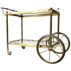 Brass Glass Bar Cart Serving Table Trolley Maison Baguès Jansen, French, 1950s