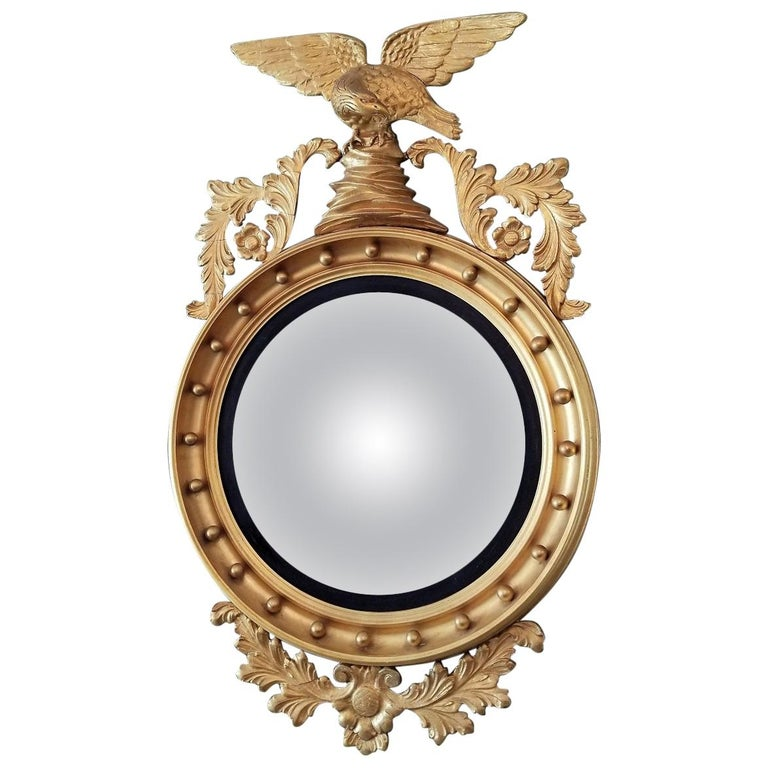 Early 19th Century Federal Eagle Wood and Gesso Gilded Convex Mirror For Sale