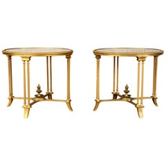 Pair of Bagues Style Gilt Bronze Neoclassical End Tables or Pedestals
